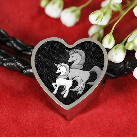 Cute Unicorn Print Heart Charm Leather Bracelet-Free Shipping