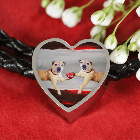 Border Terrier Print Heart Charm Leather Bracelet-Free Shipping