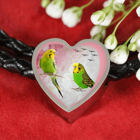 Budgerigar Parrot Print Heart Charm Leather Woven Bracelet-Free Shipping