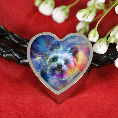Yorkie Art Print Heart Charm Leather Bracelet-Free Shipping