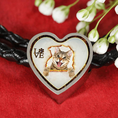 Lovely Bengal Cat Print Heart Charm Leather Woven Bracelet-Free Shipping