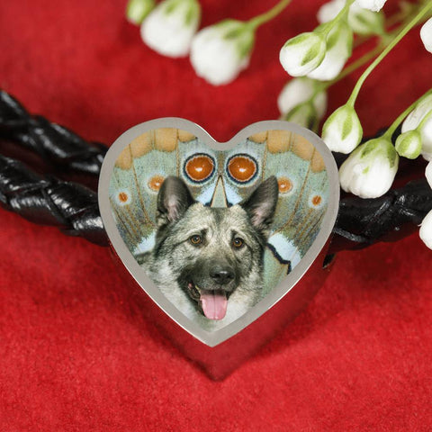 Norwegian Elkhound Dog Print Heart Charm Leather Bracelet-Free Shipping