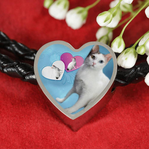 Japanese Bobtail Cat Print Heart Charm Leather Bracelet-Free Shipping