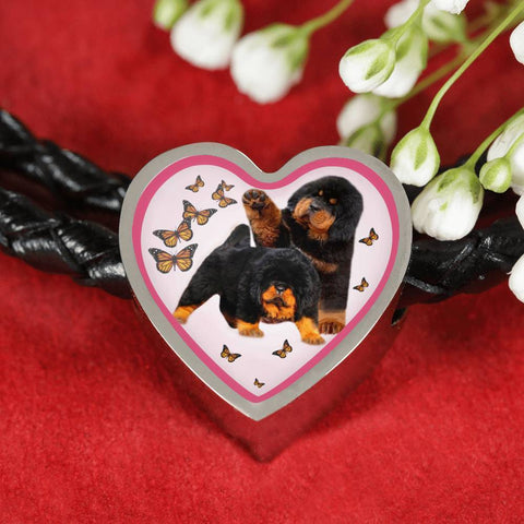 Tibetan Mastiff Dog Print Heart Charm Leather Bracelet-Free Shipping