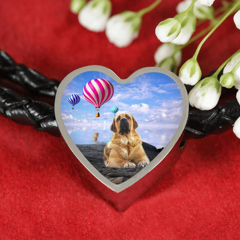Spanish Mastiff Dog Print Heart Charm Leather Bracelet-Free Shipping