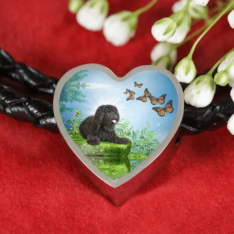 Barbet Dog Print Heart Charm Leather Bracelet-Free Shipping
