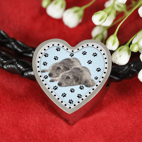 Irish Wolfhound Dog Print Heart Charm Leather Bracelet-Free Shipping