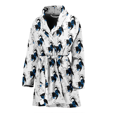 Siberian Husky Dog Pattern Print Women's Bath Robe-Free Shipping