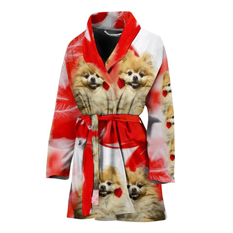 Pomeranian On White Print Women's Bath Robe-Free Shipping