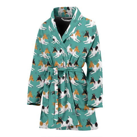 Toy Fox Terrier Dog Hearts Pattern Print Women's Bath Robe-Free Shipping