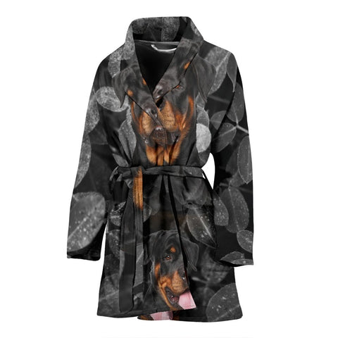 Rottweiler Dog On Black Print Women's Bath Robe-Free Shipping