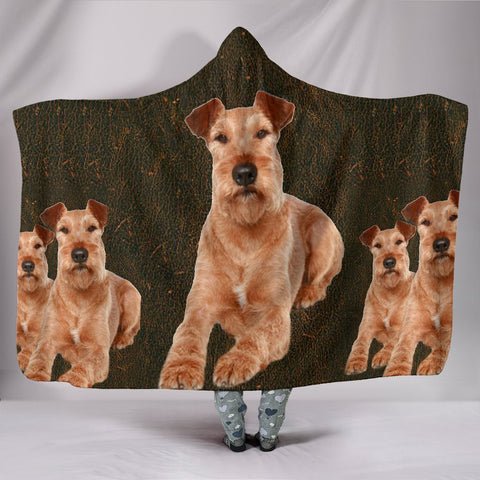 Irish Terrier Print Hooded Blanket-Free Shipping