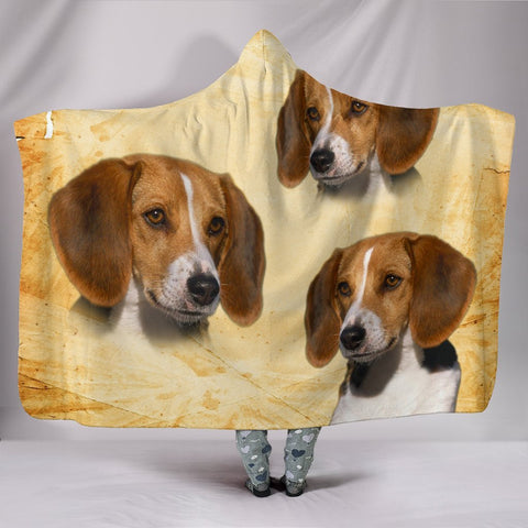 Cute American Foxhound Print Hooded Blanket-Free Shipping