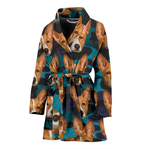 Basenji Dog Print Women's Bath Robe-Free Shipping