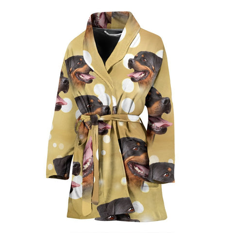 Rottweiler Dog Print Women's Bath Robe-Free Shipping