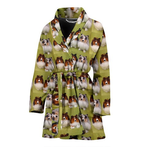 Shetland Sheepdog Pattern Print Women's Bath Robe-Free Shipping