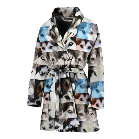 Siberian Husky Dog Eyes Pattern Print Women's Limited Edition Bath Robe-Free Shipping