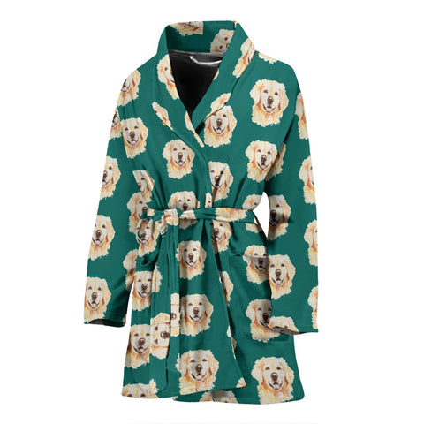 Golden Retriever Dog Pattern Print Women's Bath Robe-Free Shipping