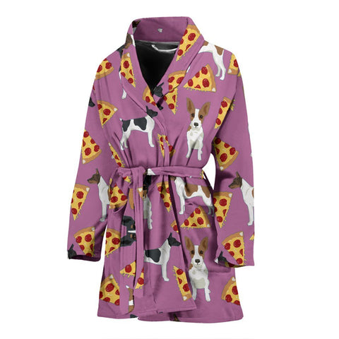 Rat Terrier Dog On Pizza Print Women's Bath Robe-Free Shipping
