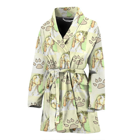 Bracco Italiano Dog Patterns Print Women's Bath Robe-Free Shipping