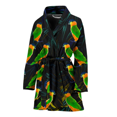 Caique Parrot Print Women's Bath Robe-Free Shipping