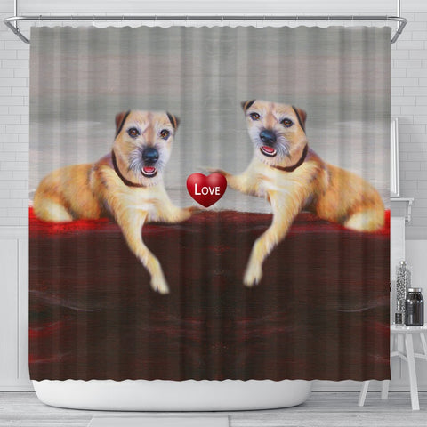 Border Terrier Love Print Shower Curtain-Free Shipping