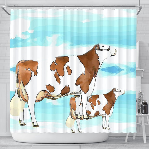 Montbeliarde Cattle (Cow) Print Shower Curtain-Free Shipping