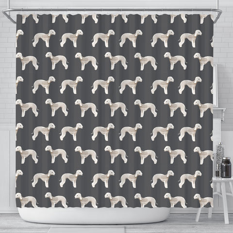 Bedlington Terrier Dog Pattern Print Shower Curtains-Free Shipping