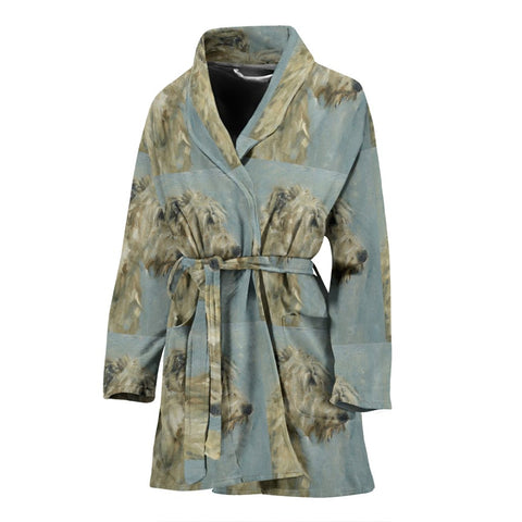 Irish Wolfhound Dog Patterns Print Women's Bath Robe-Free Shipping