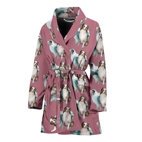 Australian Shepherd Dog Pattern Print Women's Bath Robe-Free Shipping