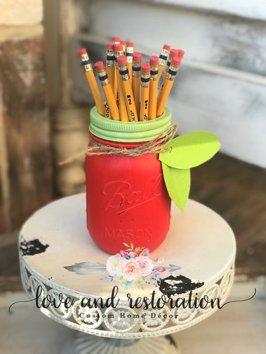Mason Jar Pencil Holder