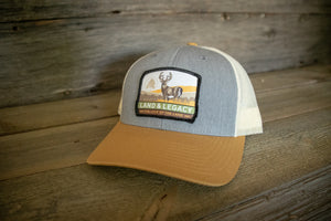 Whitetail Deer Conservation Cap - TRI-COLOR: LIGHT BLUE/BIRCH/AMBER GOLD