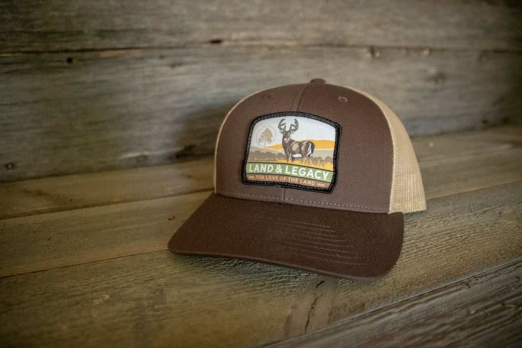 Whitetail Deer Conservation Cap - SPLIT: BROWN/KHAKI