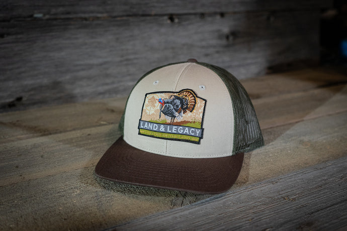 Wild Turkey Conservation Cap - Tri-Color - Tan/Loden/Brown