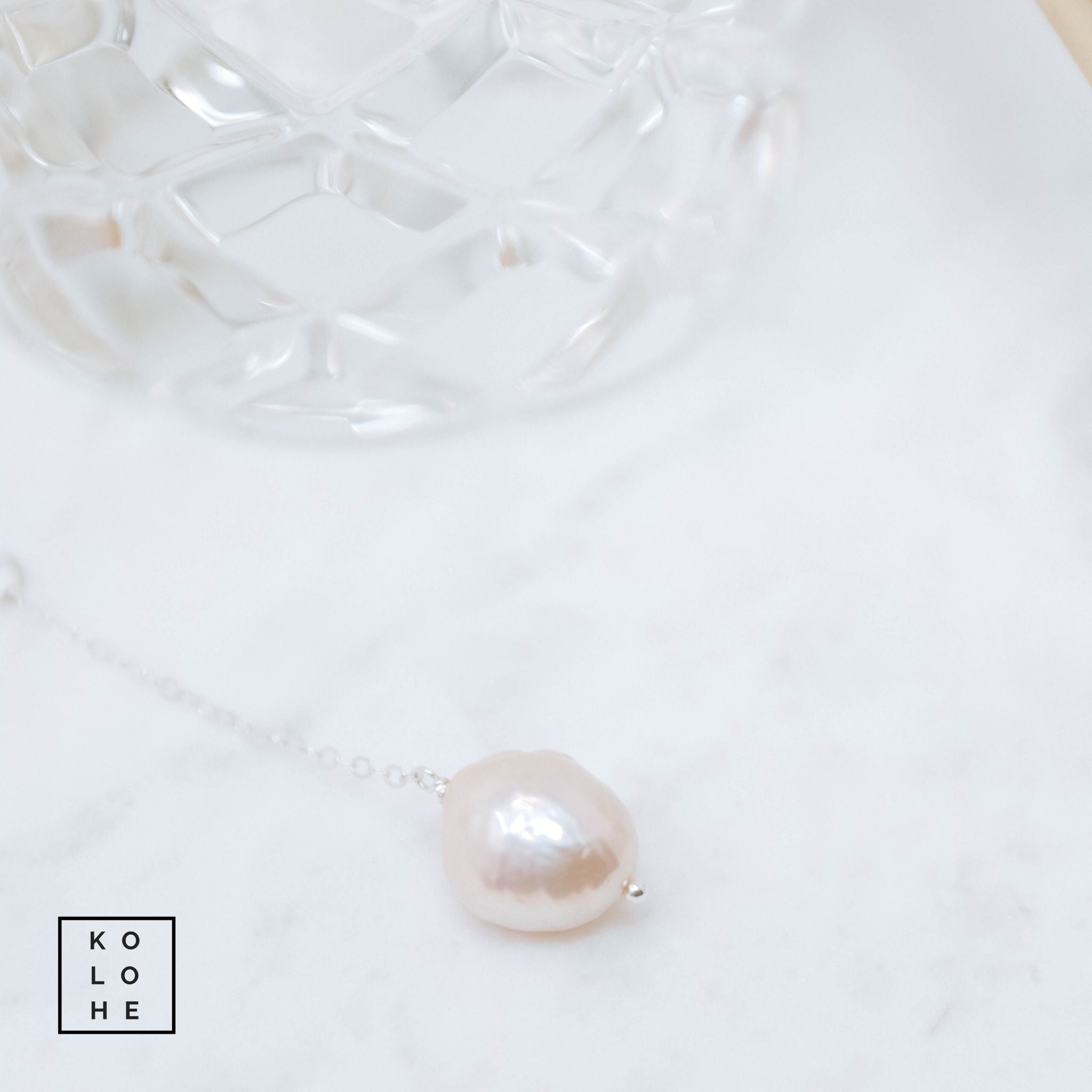 Silver Necklace with Edison Pearl Drop