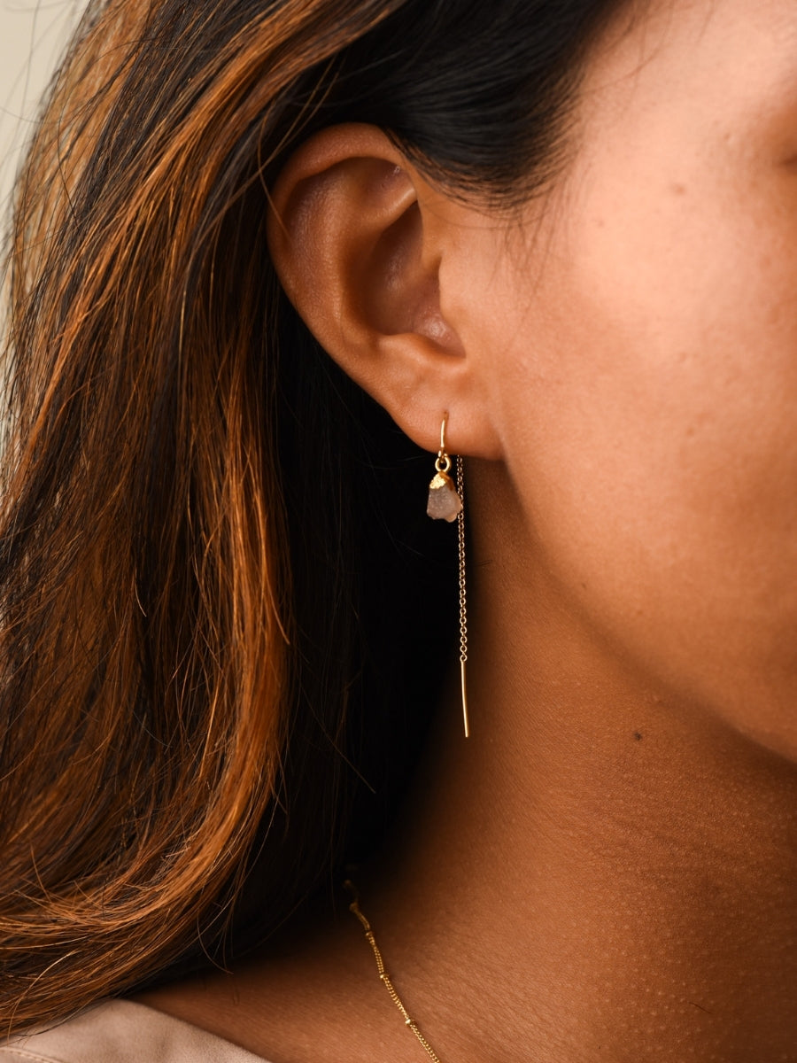 Short Gold Ear Threader with Pink Druzy