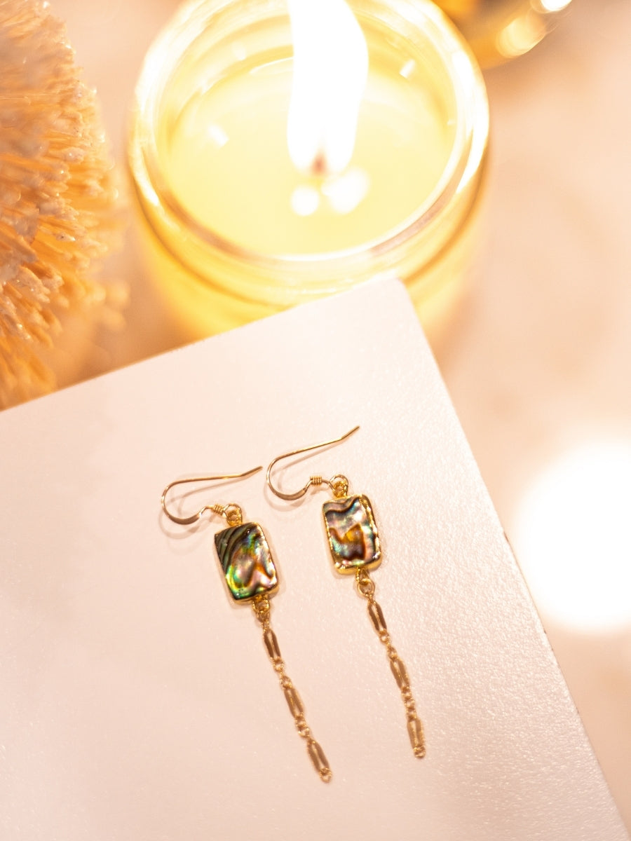 Statement Gold Earrings with Abalone Bar and Shimmering Chain Drop