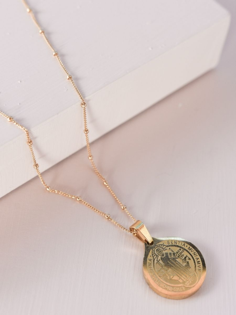 Gold Ball Chain Necklace with St. Benedict Pendant