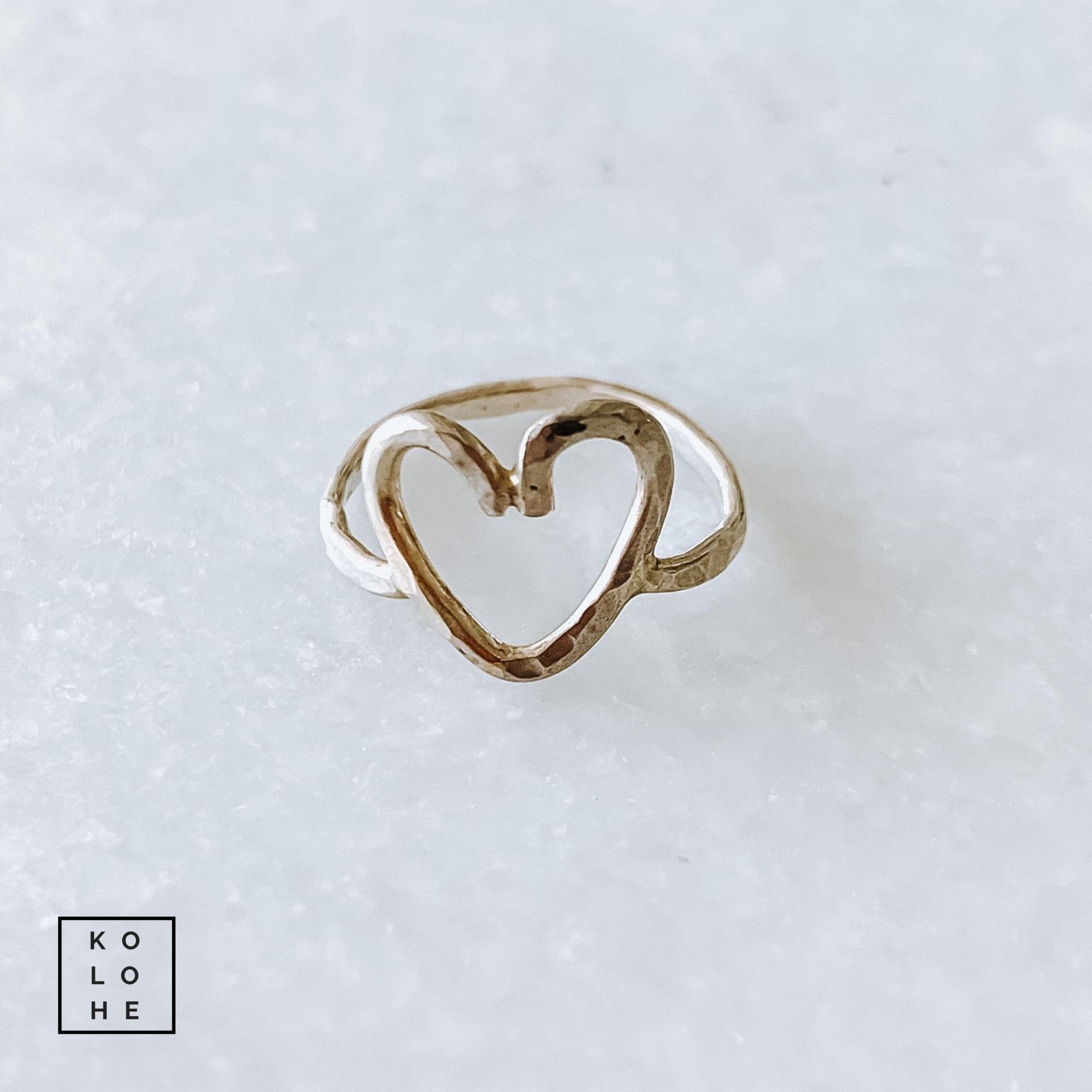 Size 3.5 Sterling Silver Hammered Heart Ring