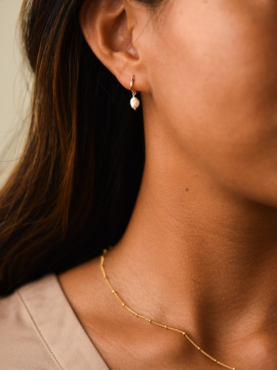 Dainty Gold Hoops with Freshwater Pearls