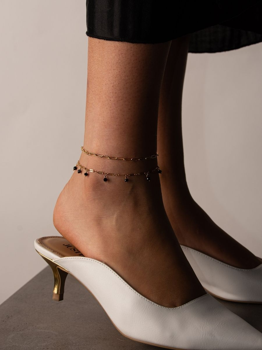 14k Gold Fill Clip Chain and Black Droplet Flat Chain Anklet Set