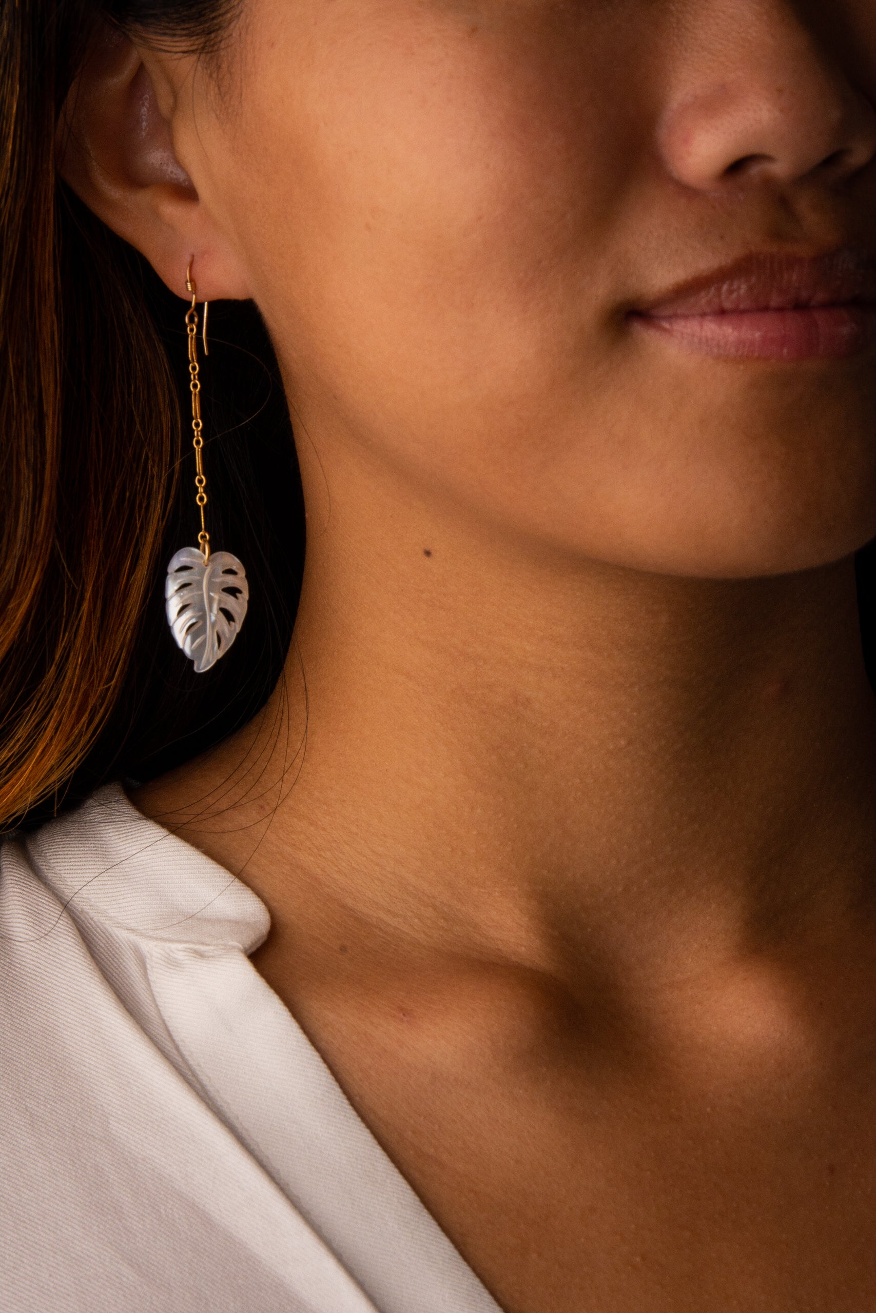 Mother of Pearl Monstera Earrings
