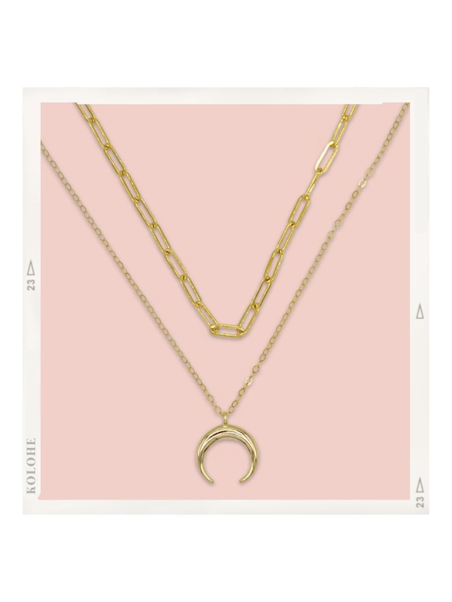 14k Gold Fill Clip Chain and Crescent Moon Necklace Set