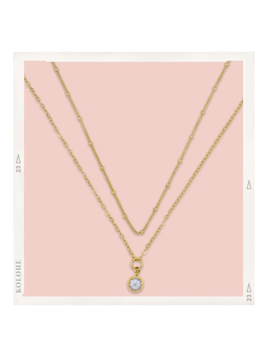 14k Gold Fill Ball Chain and CZ Necklace Set