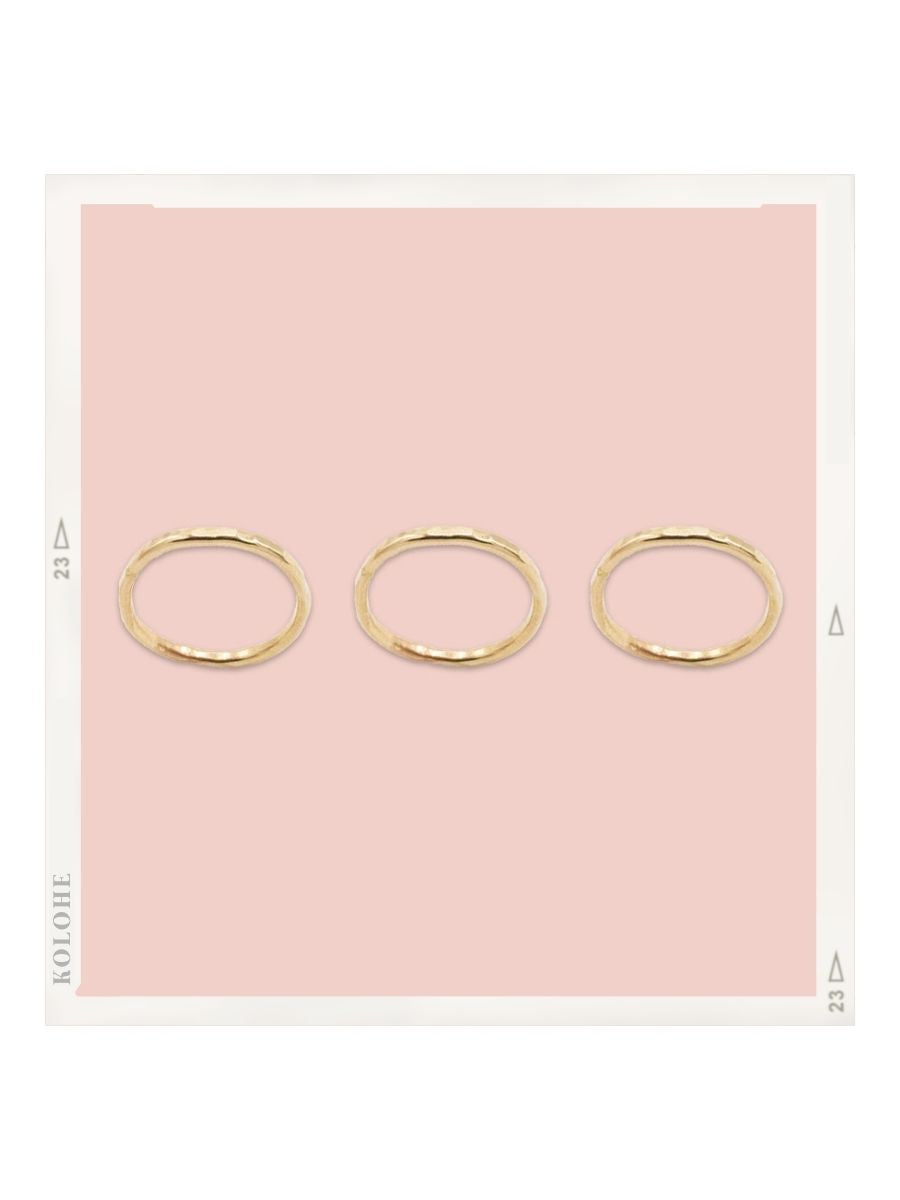 3 14k Gold Fill Textured Stacker Ring Set