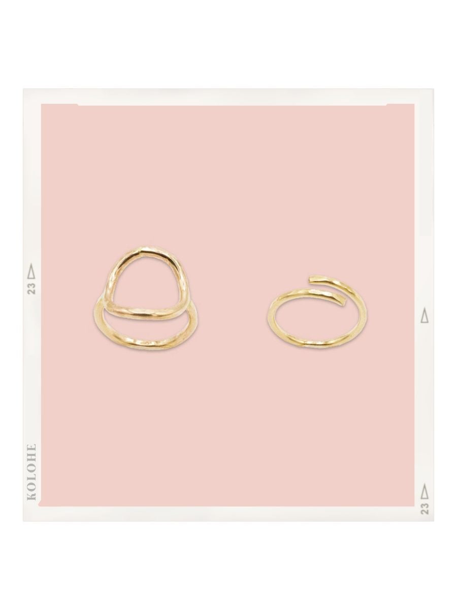 14k Gold Fill Circle Ring and Wrap Ring Set