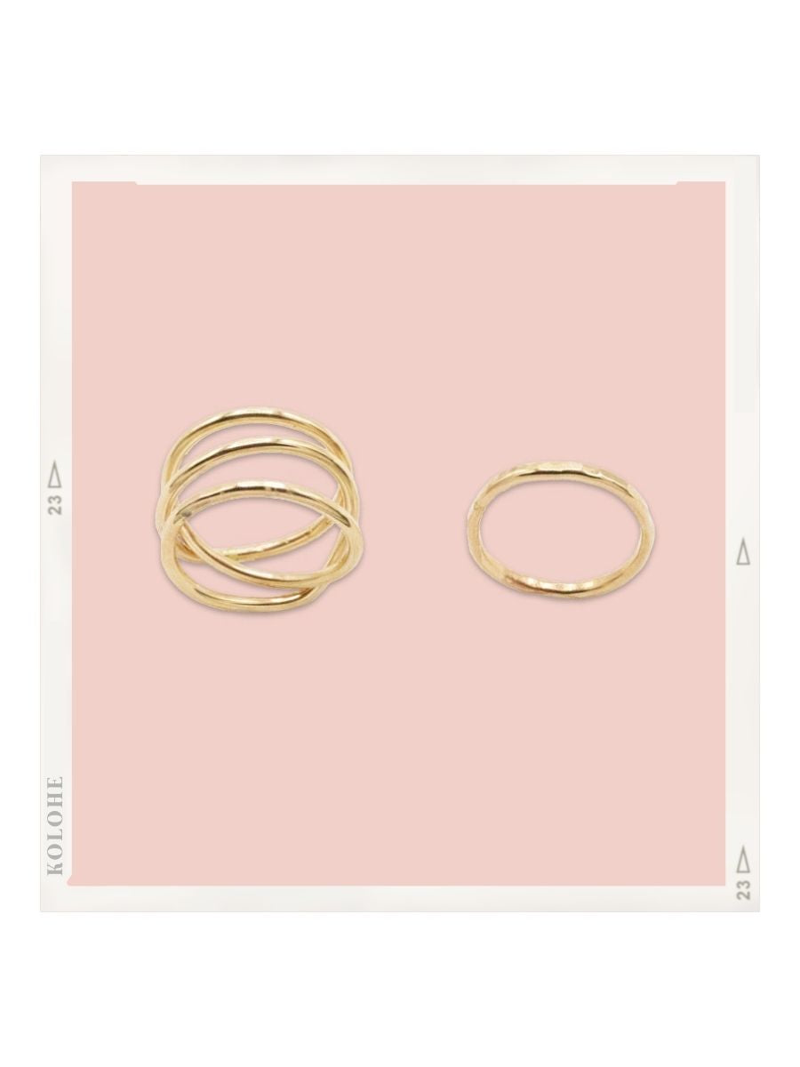 14k Gold Fill Double Infinity Ring and Textured Stacker Ring Set