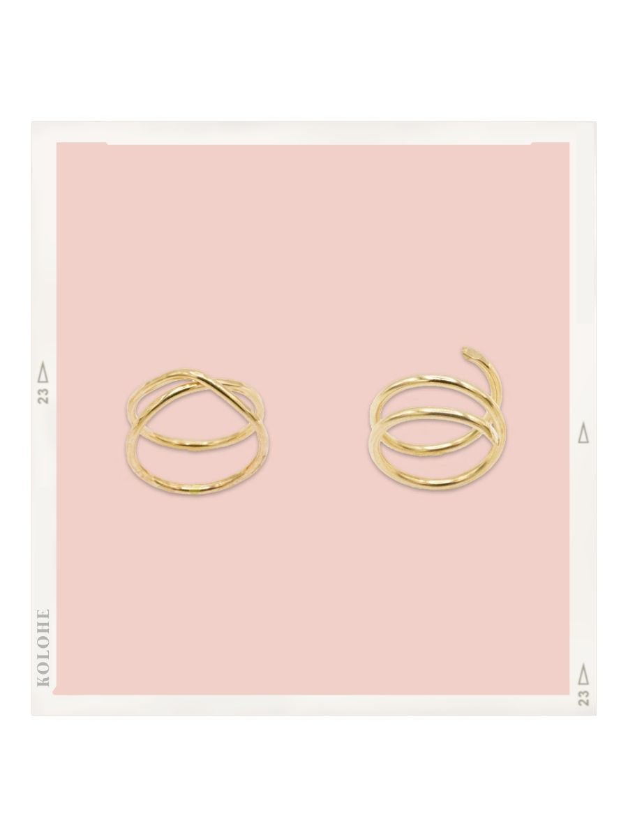 14k Gold Fill Infinity Ring and Double Wrap Ring Set