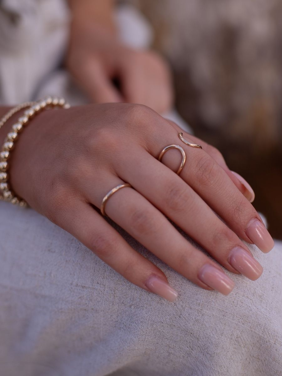 14k Gold Fill Infinity Cuff Ring and Textured Stacker Ring Set