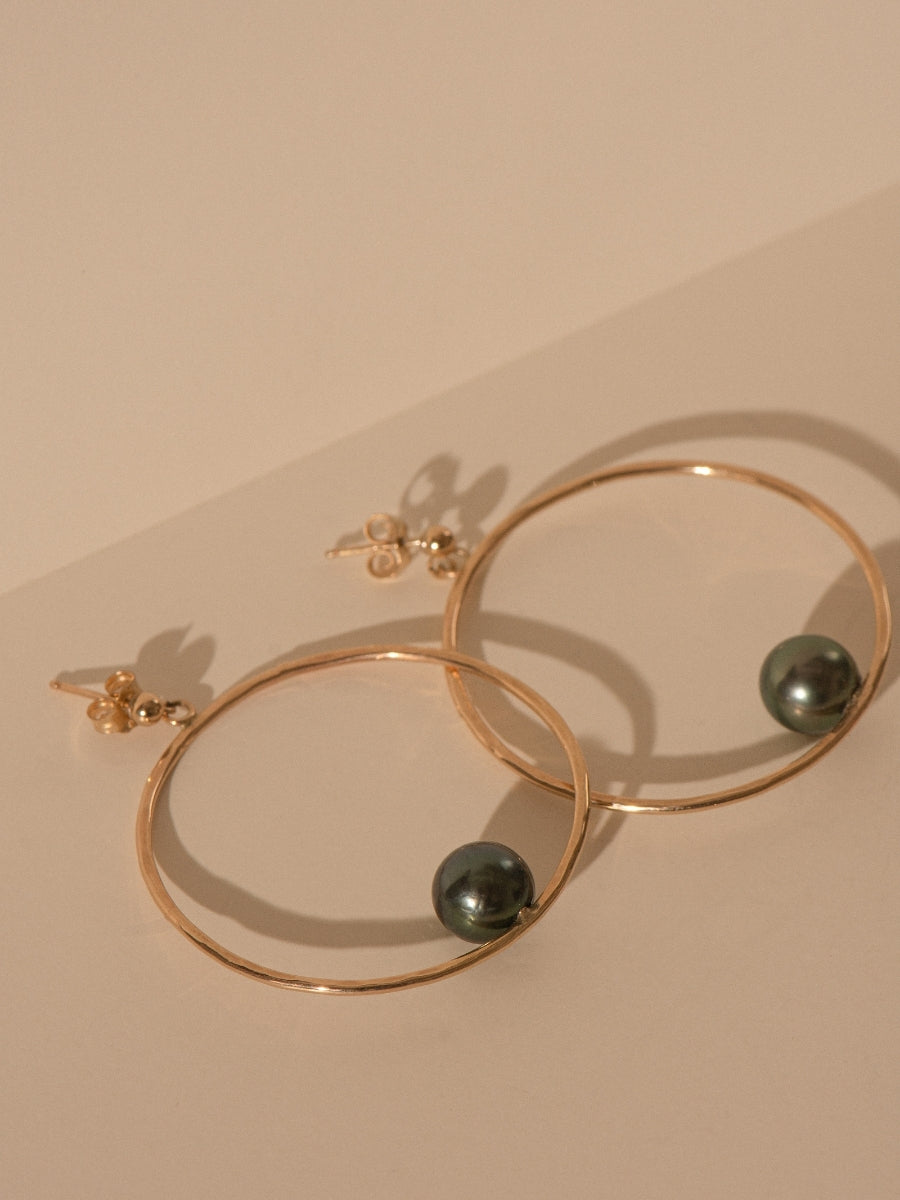 Gold Tahitian Pearl Stud Hoop Earrings